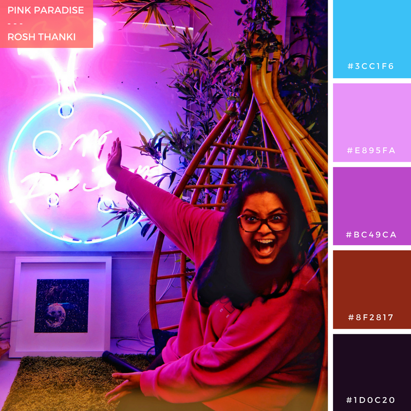 Colour Palette for Pink Paradise by Rosh Thanki, no bad days neon installation by Fei Alexeli at the other art fair
