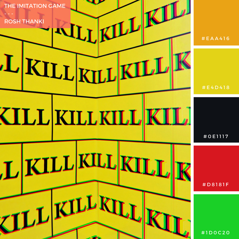 Colour Palette for The Imitation Game, by Rosh Thanki, kill bill style wallpaper by Sturtevant at the Thaddaeus Ropac gallery