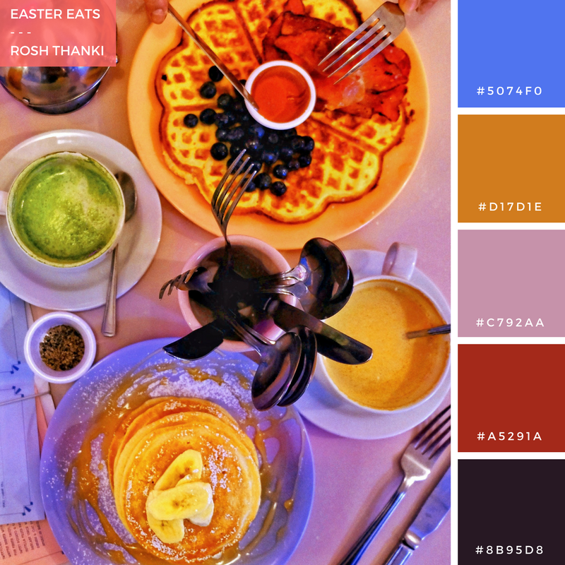 Colour Palette for Easter Eats by Rosh Thanki, Cafe Miami breakfast brunch food flatlay