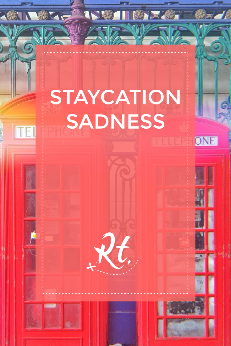 Staycation Sadness by Rosh Thanki, red telephone boxes at smithfield market