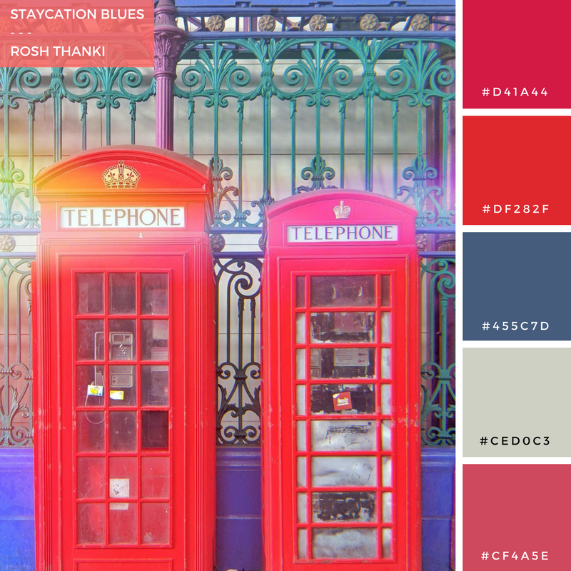 Colour Palette for Staycation Sadness by Rosh Thanki, red telephone boxes at smithfield market