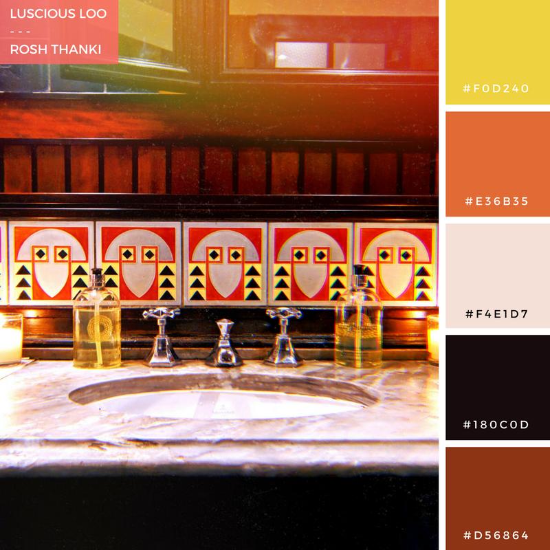 Colour Palette for Luscious Loo by Rosh Thanki, dishoom shoreditch bathroom