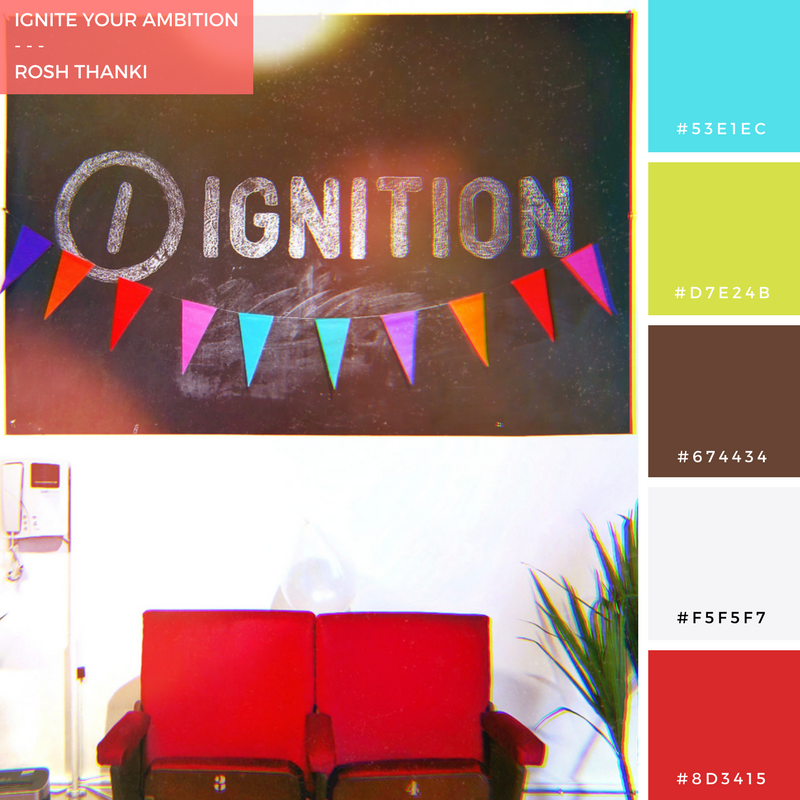 Colour Palette for Ignition Your Ambition by Rosh Thanki, office interior at ignition creative london