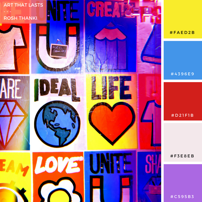 Colour Palette for Art that Lasts by Rosh Thanki, Posters by Rare Kind LDN and SHN at Rich Mix London
