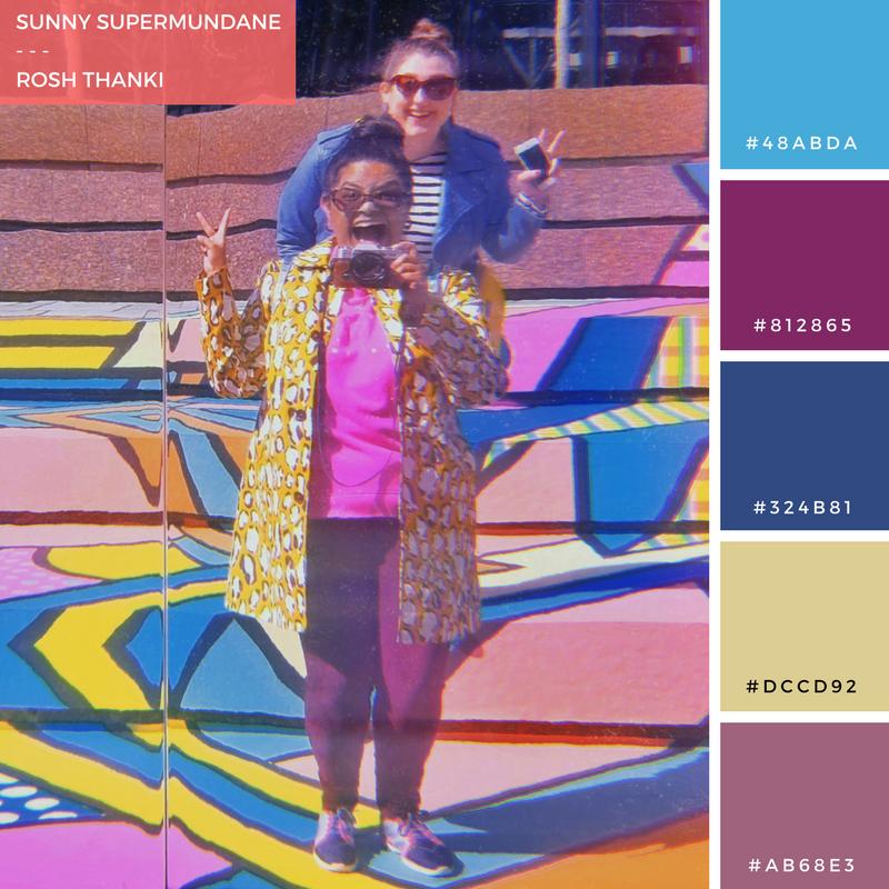 Colour Palette for Sunny Supermundane by Rosh Thanki, reflection image of Natasha Nuttall and Rosh Thanki at Broadgate London