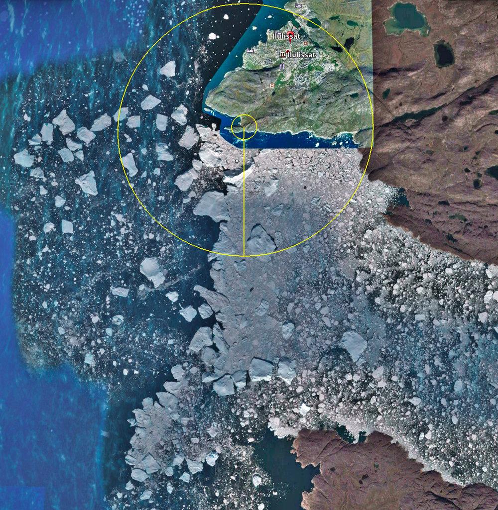 Um die Bedeutung der Reichweite zu visualisieren, habe ich die unterschiedlichen Radien in einen Ausschnitt aus Google Earth Pro® eingezeichnet. Das Bild zeigt den Ort, an dem der Ilulissat Eisfjord von Osten in die Diskobucht mündet. Als Mittelpunkt habe ich einen gut zu Fuß erreichbaren Aussichtspunkt gesetzt und die beiden Kreise haben einen Radius von 300 m bzw. 3 km.