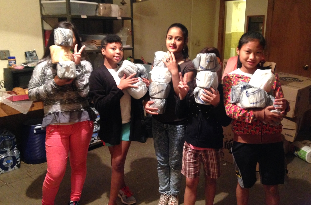 Northlake teens prepare toiletries for distribution at St. Paul's Episcopal Church food pantry