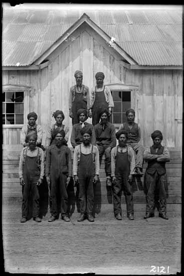 Sikh mill workers for the Pacific Lumber Company in Barnet, British Columbia during the early 1900s.