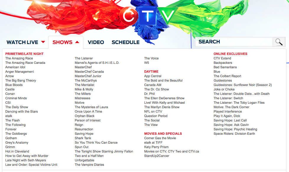 Canadian TV - CTV Show LineUp