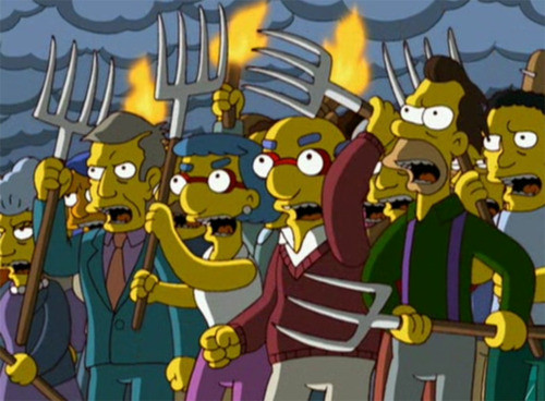 An artist's rendering of Canadians reactions to preventing Canadian Netflix subscribers from accessing the US Netflix library.      Image courtesy of The Simpsons & Fox