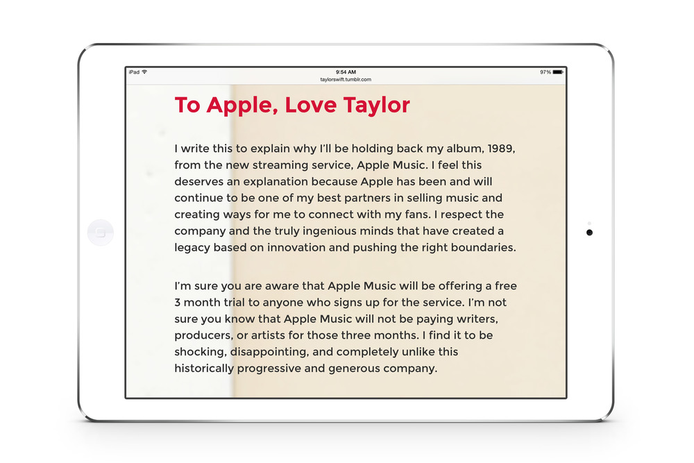 taylor swift to apple love taylor
