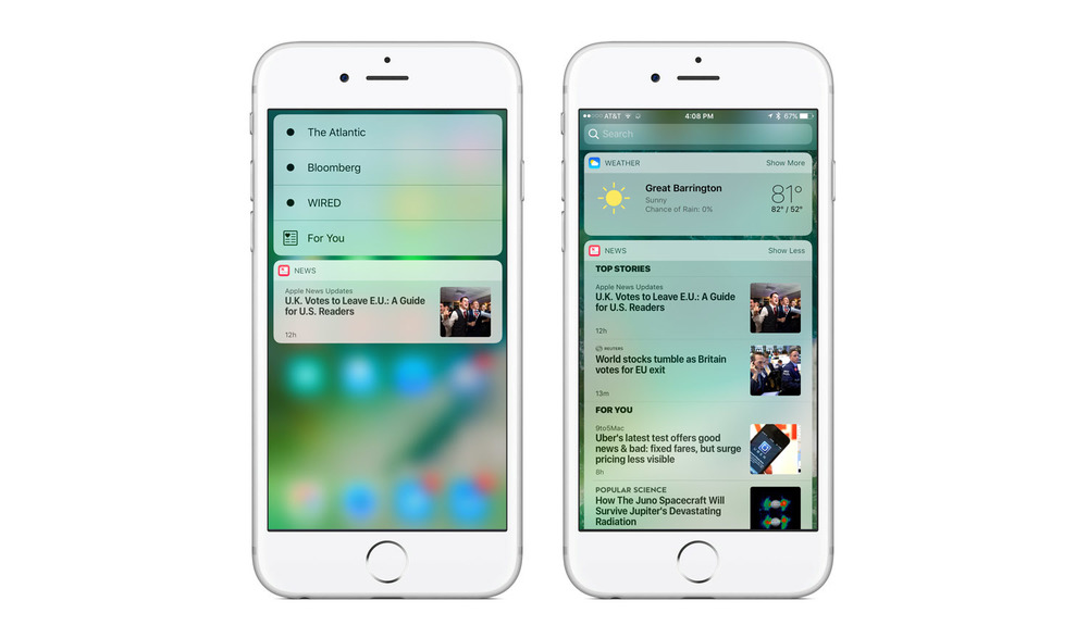 Views: 3D Touch Quick Actions | Apple News Widget