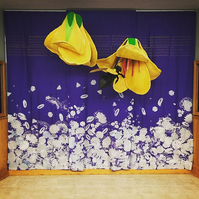 """I'm so happy to see this piece complete! More than a dozen students, staff, faculty and community members came together to create this installation for a satellite exhibition space for Jessica Rath's """"A Better Nectar"""" show.  Stop by Sage Hall at Steston University to check it out!"""