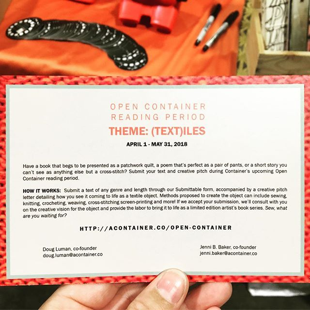 Textile and Text friends...apply to @acontainerco 's open call! (@shannonludington this looks up your alley!)
