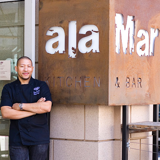 Chef Nelson German at his restaurant, alaMar, in Oakland's Uptown District