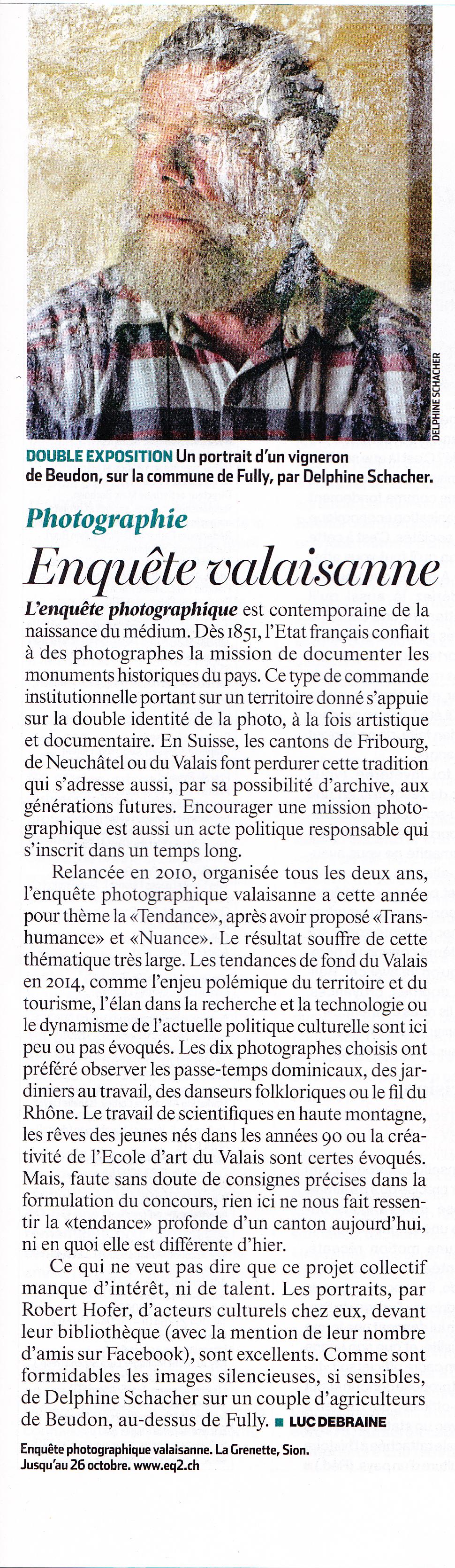 L'Hebdo, semaine du 2 octobre 2014, Article par Luc Debraine