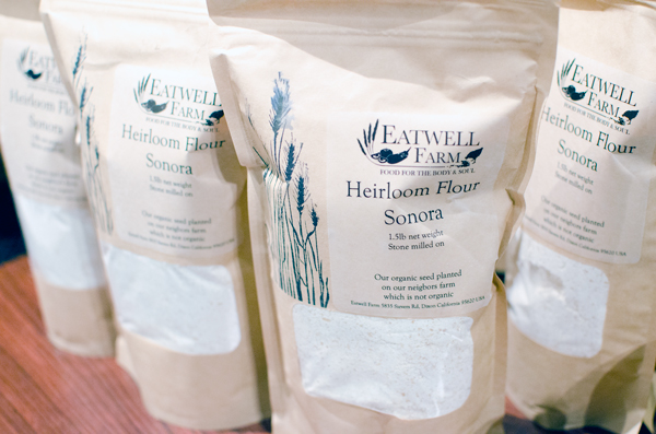 Our Heirloom Sonora Wheat Flour can be purchased as an add-on item to be delivered with our CSA boxes, at the Ferry Plaza Farmer's Market in San Francisco on Saturdays, or through our webstore to be shipped in the US. Photo Credit: Kelly from A Side of Sweet.