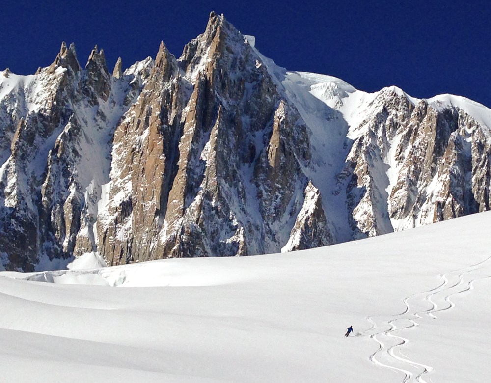 Deep powder on Vallee Blanche