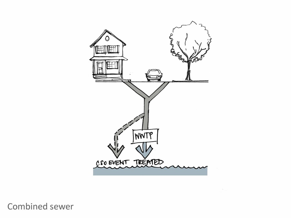 There are a number of pros and cons on each side of the combined vs separated sewer debate. In combined sewers wastewater and rainwater go to the wastewater treatment plant most of the time and are somewhat treated before being discharged to the ocean. When there are large rainfall events, though, there is too much volume for the pipes to handle and the excess, untreated water is discharged into the ocean.