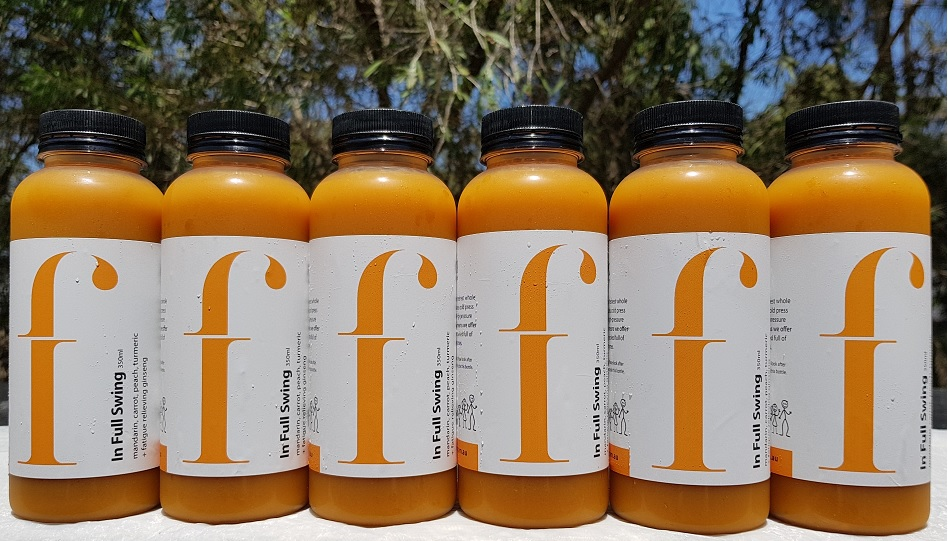 In Full Swing   An earthy and delightful blend that contains beta-carotene and an array of other antioxidants in each mouthful. The addition of turmeric means this juice is an inflammation fighter and also helps to boost liver function  * Mandarin, carrot, peach, turmeric,