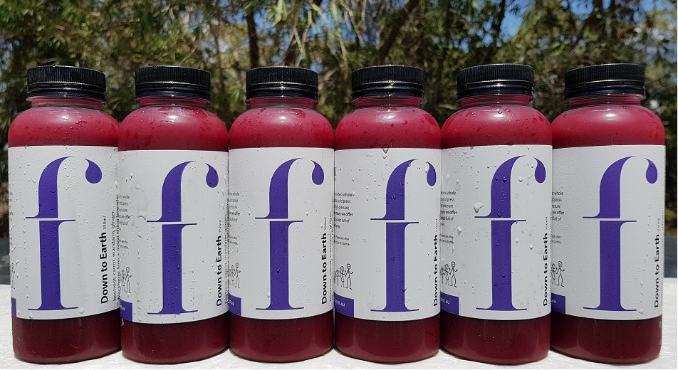 Down To Earth  With colour comes health, and this juice has plenty of colour. The deep hue of beetroot and blackberry come from its antioxidants that will in turn help to fight immune weakness and boost liver function.  *·Beetroot, carrot, mandarin, ginger, blackberry, lime,