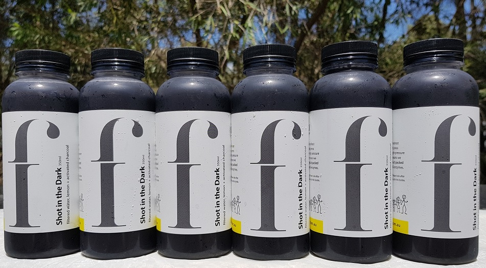 Shot in the Dark   If you're after serious hydration or a detox, this is the one for you. Activated Charcoal is fantastic and detoxifying the gut as it binds to toxins and drags them out of the body. With a hint of lemon this juice is perfect for a health kick or hydrating digestive boost.  *Filtered water, lemon, activated charcoal