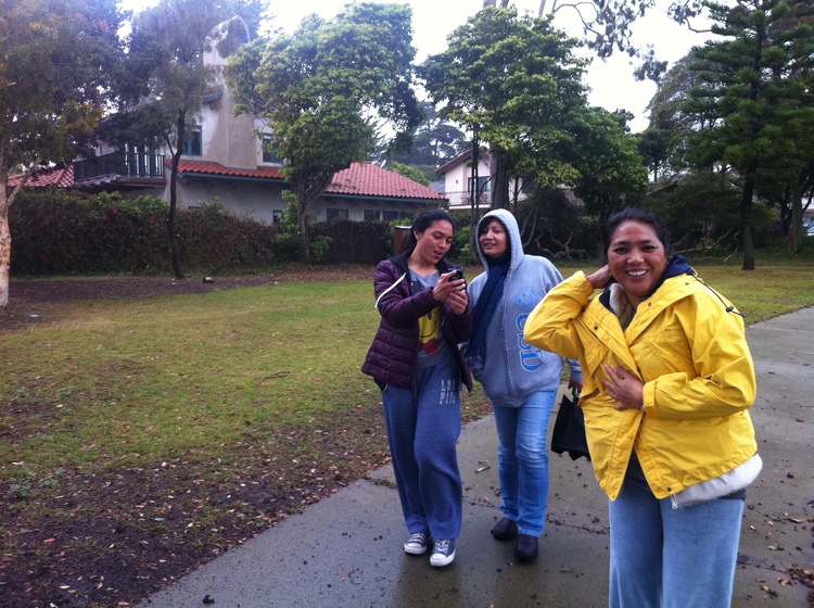 My cousin Annie, my mom, and my Auntie as we set out on our walk in the park.