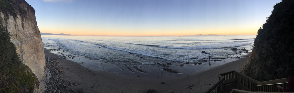 Panorama of Leadbetter Beach, CA.
