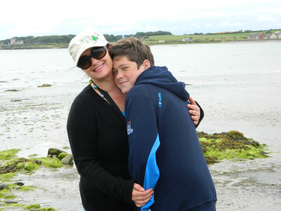 Paula and her son at the beach in Ireland.