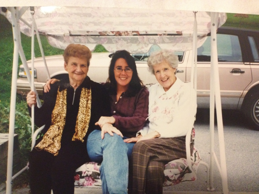 from left to right: Ida (another superstar), Eileen and Muriel on Muriel's swing.