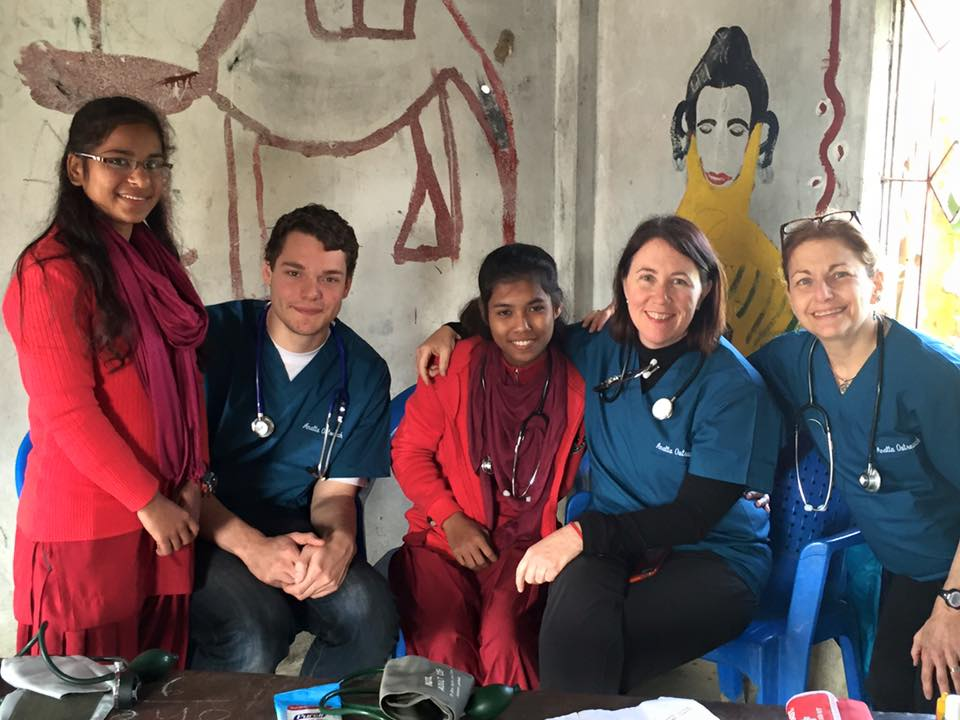 Part of the medical team of Nurses, EMT's and newly trained Nepali Nurse Midwives