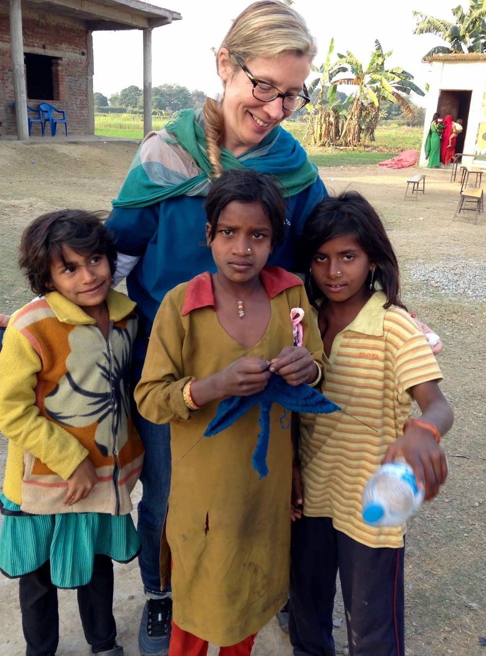Cornelia putting Anatta to good use during a medical clinic in Lumbini, Nepal