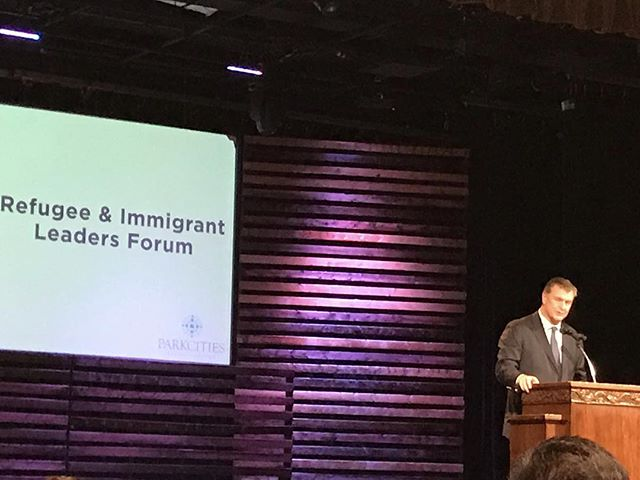 Hearing from city leaders such as @mayor_mike_rawlings today at the Refugee and Immigrant Leaders Forum at @parkcitiesbaptistchurch alongside friends  @unitegreaterdallas and others. The hope is to better understand the refugee situation in our community and take steps forward together to address the issues. #awakenmycity