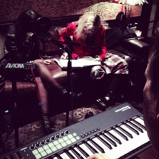"""Working the midnight shift with Natalia Kills. 2 girls on a couch..........don""t it taste like Holy Water?  #artforfreedom    #rebelheart    #revolutionoflove  "" -Madonna"