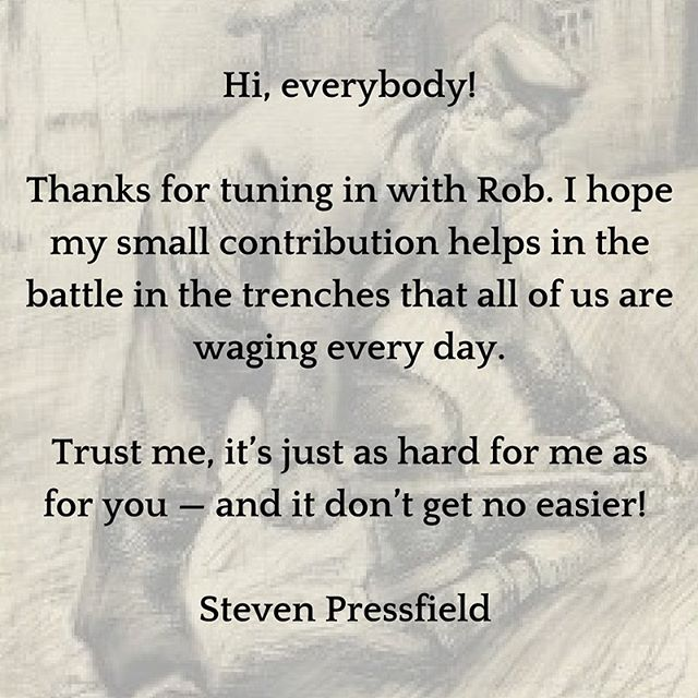 Steven Pressfield sent this note to the innovators meeting tonight for the December 2016 Meet-Up.