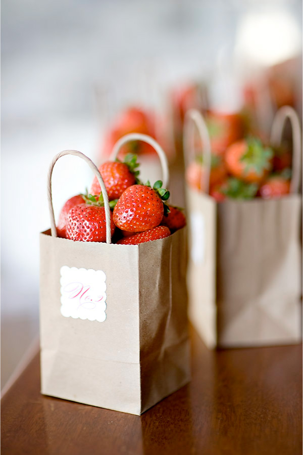 Locklane Weddings & Events, Nashville Planner | Table Numbers Made from Bags of Strawberries