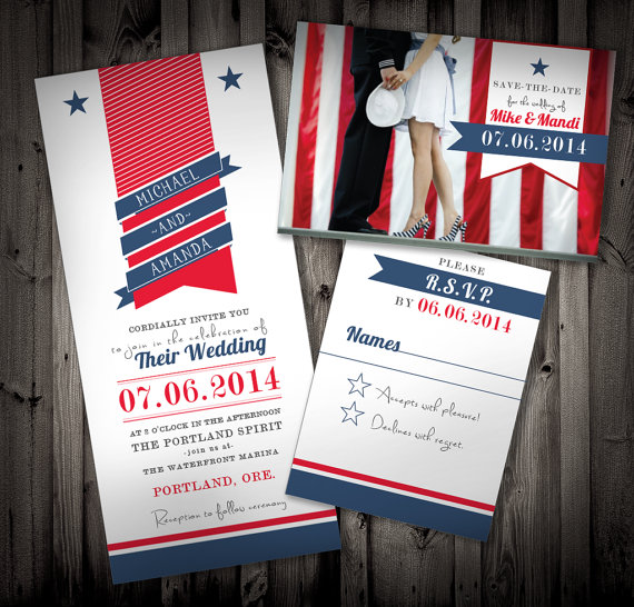 Locklane Weddings & Events, Nashville Planner | Patriotic Wedding Invitation Suite
