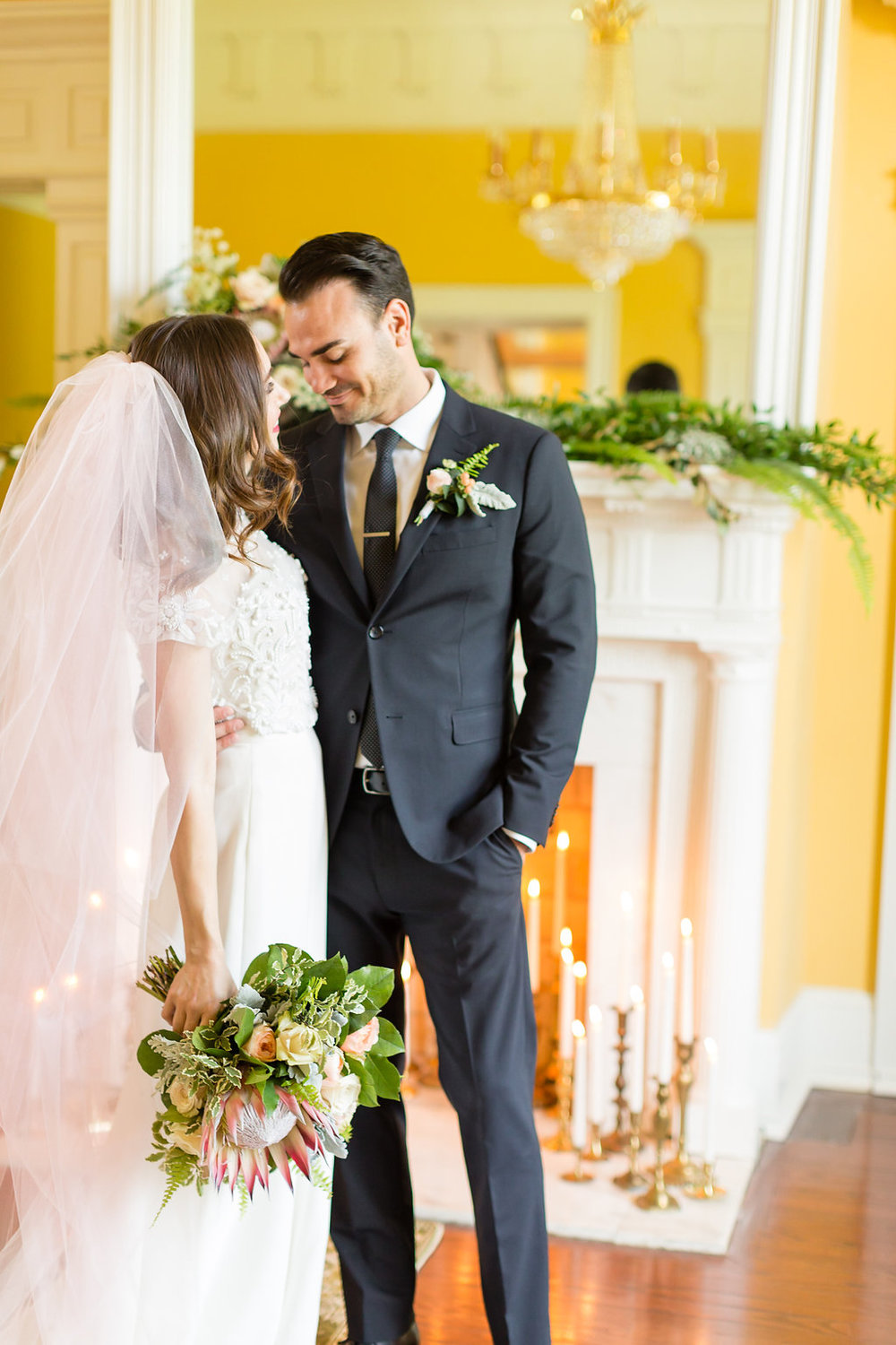 Locklane Weddings & Events + Greenery, Pink, Yellow Wedding Inspiration + GranDale Manor + Caley King Newberry
