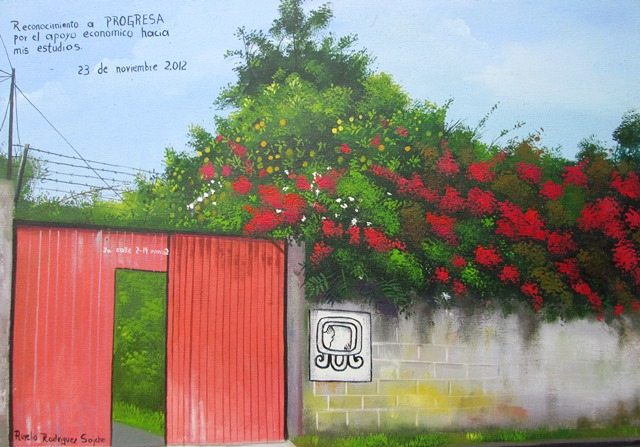 This painting ofthe front of our office, was done by one of our students, Aurelio RODRÍGUEZ