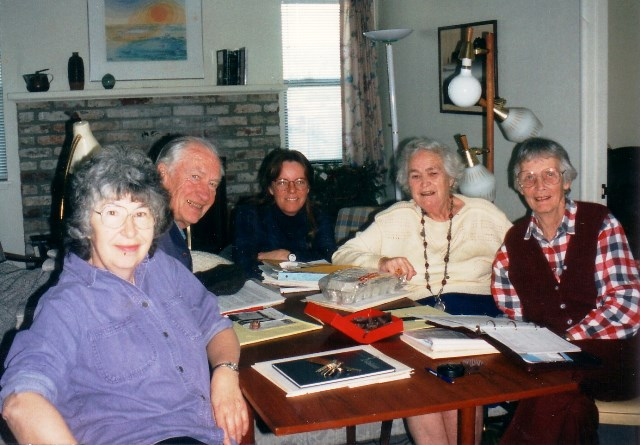 Harriet Lewis, Bob Shutz, Barbara Moulton, Trudie Hunt and Virginia Hecht – An early meeting of the guatemala monthly meeting Scholarship Program committee –