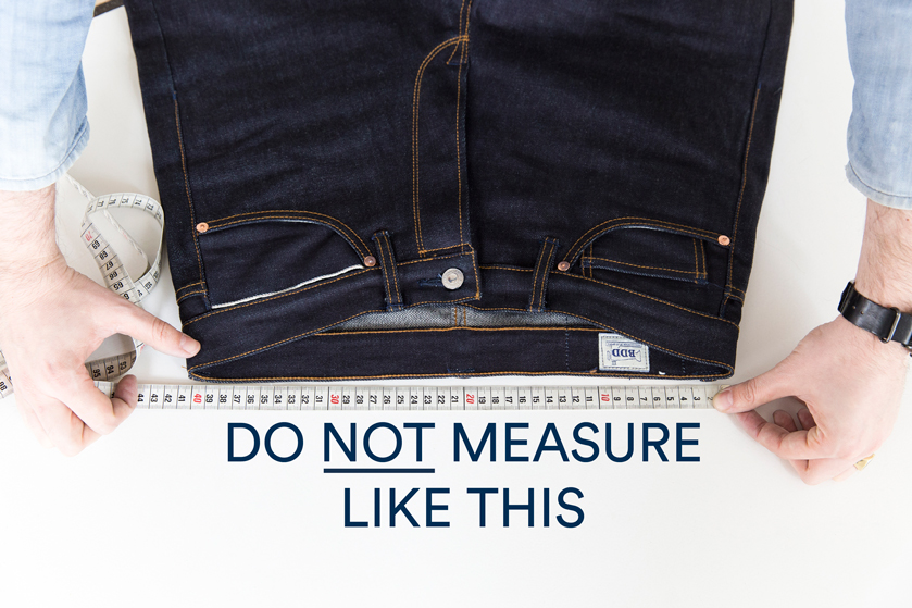 measuring the waistband (incorrect)