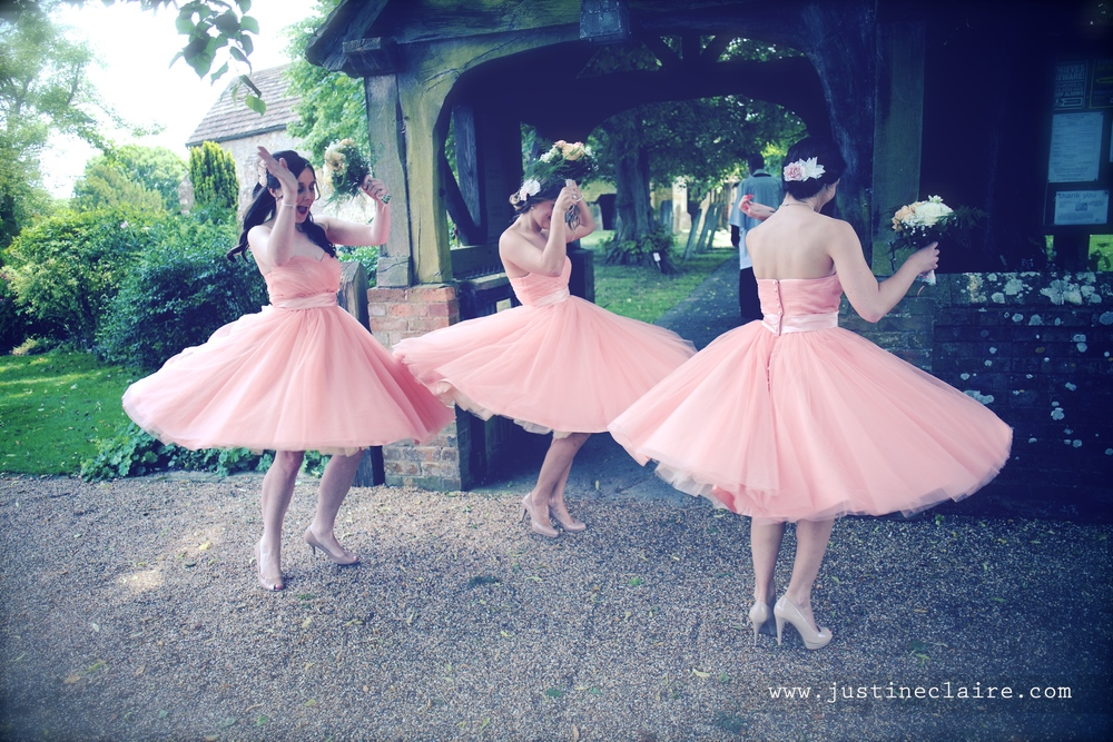 Bridesmaids at All saints Kirdford- Velvet Birdcage Dresses