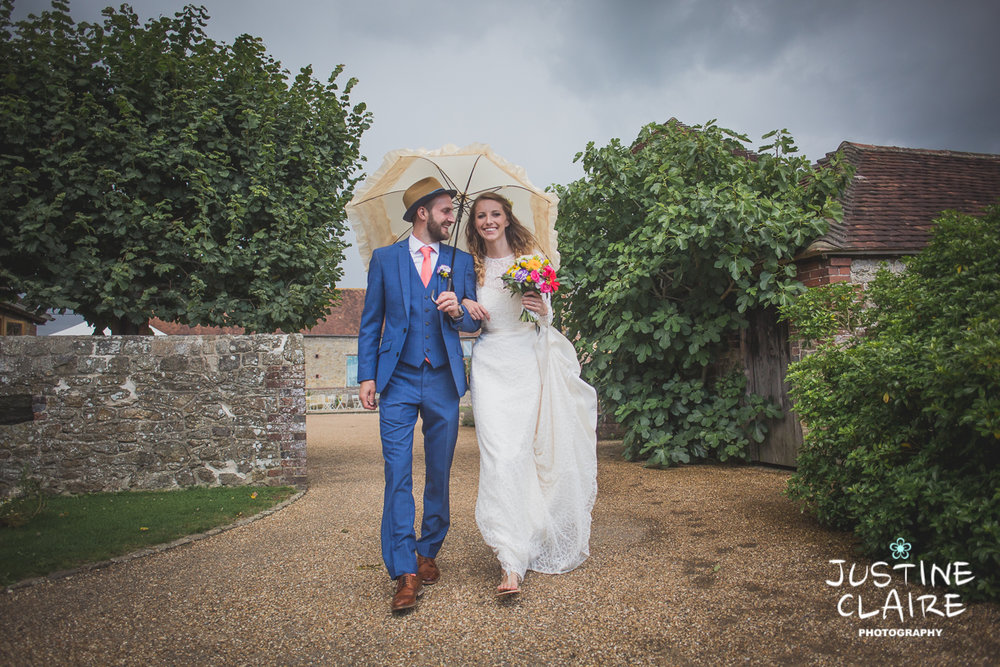 Rainy wedding barn sussex