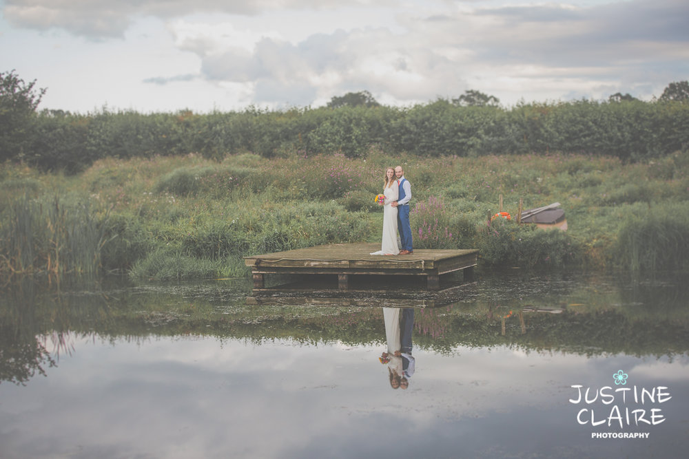 Lake wedding portraits at Grittenham barn