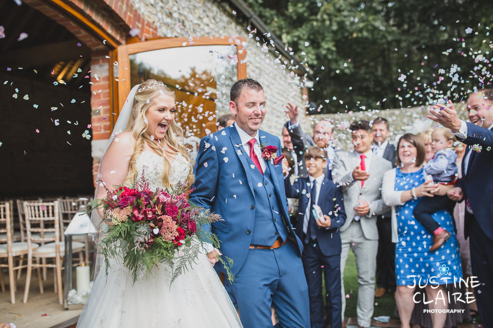 Confetti shots at Cissbury barn