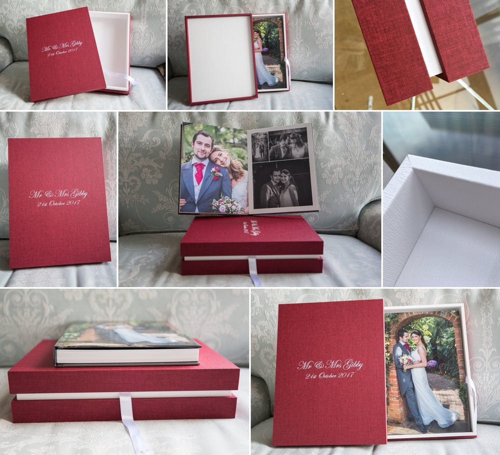 Design Box with Portrait Album.... White maple and Burgundy linen.......