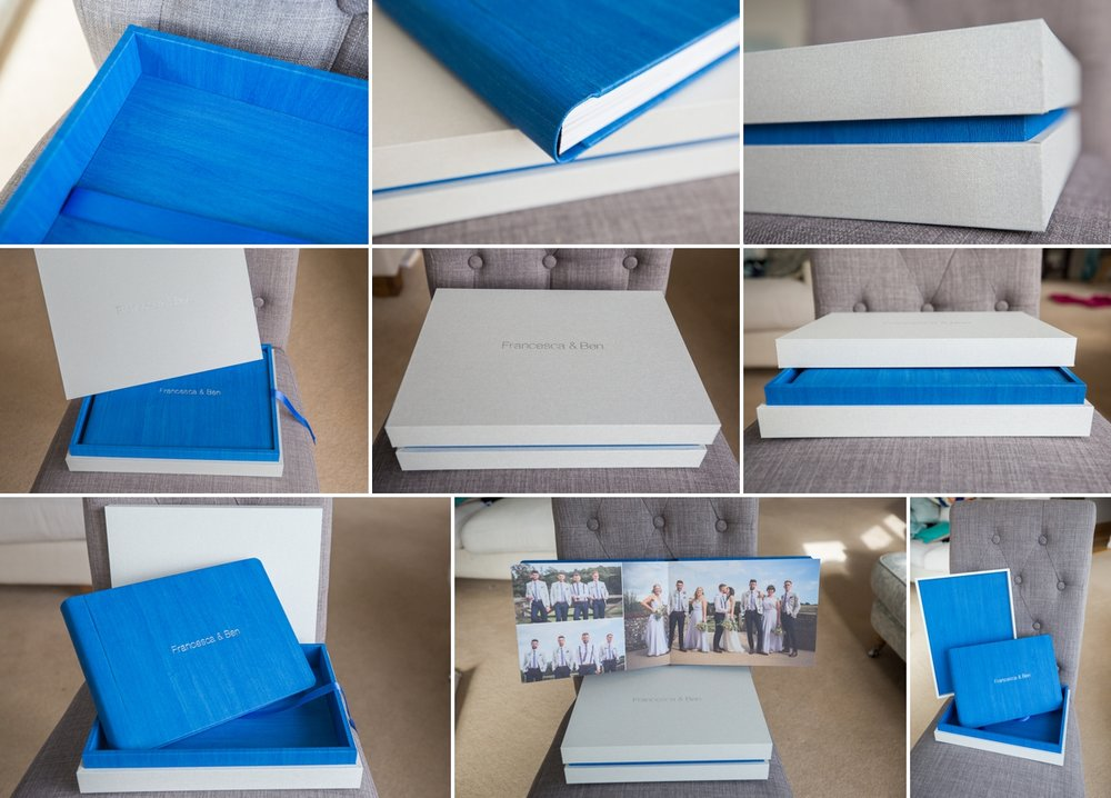 Design Box with Original Wedding Book , bound in Blue maple and contrasted with Pearl linen