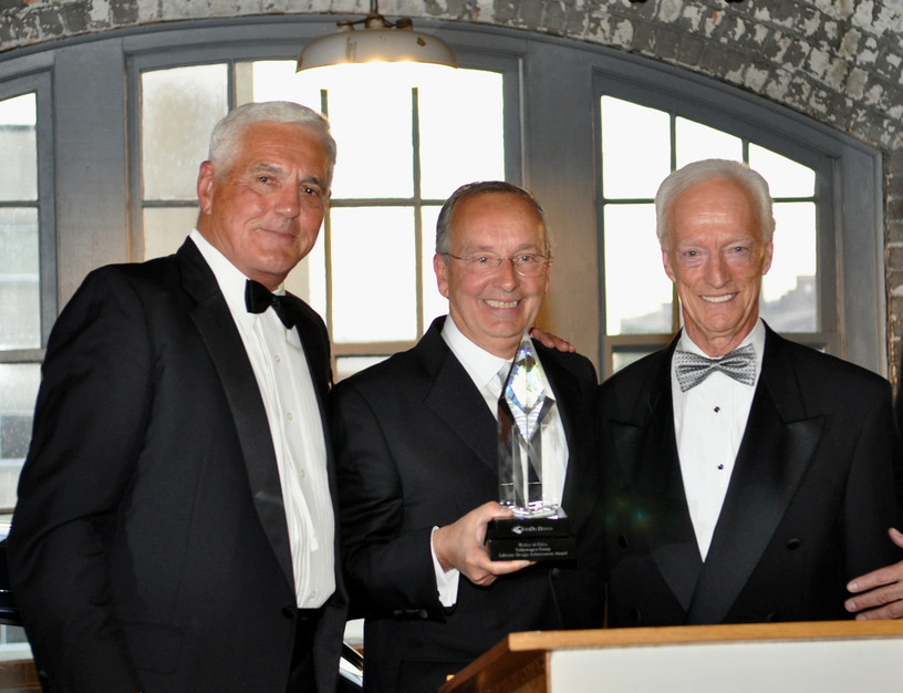 2011 inductee Walter de Silva (center, design chief, Volkswagen Group) with 2008 inductee Bob Lutz (left) and 2006 inductee Jack Telnack (right).