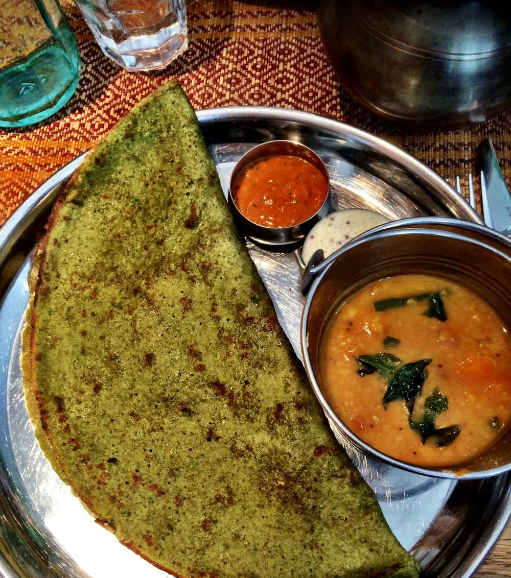 Vegetable Kuzhamba Thali at Curry Leaf Cafe