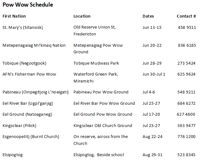 NB 2014 POW WOW schedule